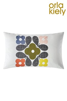 Set of 2 Orla Kiely Floral Tile Placement Cotton Pillowcases