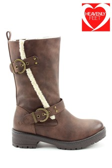 Heavenly Feet Bonnie Brown Twin Buckle Mid Calf Boots
