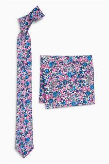 Галстук и платок для нагрудного кармана в мелкий цветочек