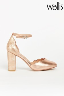 Wallis Whisper Pink Scallop Two Part Block Shoes