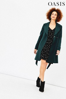 Oasis Deep Green Wrap Coat