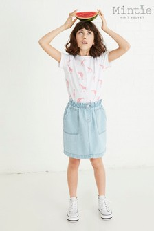 Mintie by Mint Velvet Blue Paperbag Denim Skirt
