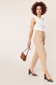 Oasis Natural Tie Waist Peg Trousers
