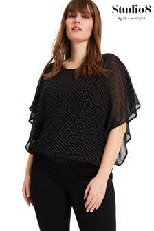 Studio 8 Black Nicola Stud Top