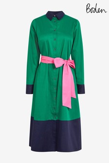 Boden Green Isodora Midi Shirt Dress