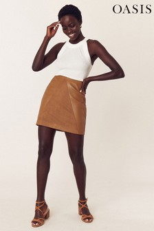 Oasis Tan Faux Leather Patch Skirt