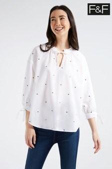 F&F Multi White Spot Popover Shirt