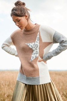 Colourblock Star Jumper
