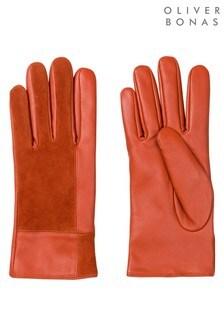 Pomarańczowe zamszowo-skórzane rękawiczki Oliver Bonas