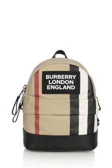 Kids Beige Logo Backpack