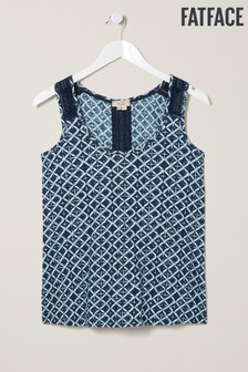 FatFace Blue Hallie Shibori Patch Lace Vest