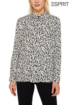 Esprit Long Sleeved Blouse With All Over Print And Pocket Details