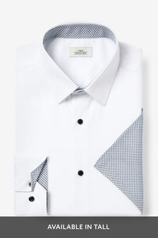 Contrast Trim Shirt And Pocket Square Set