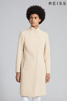 Reiss Camel Marcie Wool Blend Mid Length Coat