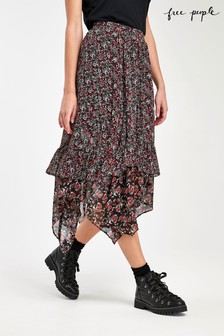 Free People Black Floral Ruffle Midi Skirt