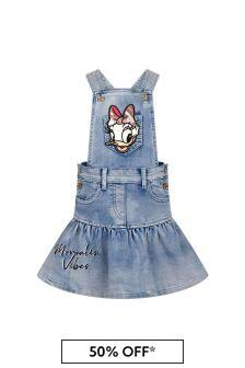 Monnalisa Girls Blue Cotton Salopette Dress