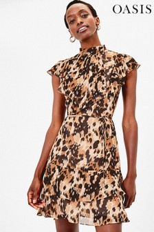 Oasis Brown Smudge Print Chiffon Skater Dress