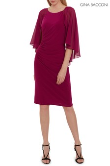 Gina Bacconi Purple Jarielle Chiffon And Jersey Dress