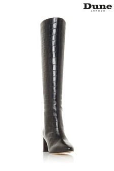 Dune London Saffia Black High Leg Pointed Toe Boots