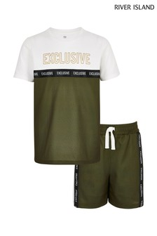 River Island Khaki Mesh Blocked Tee And Short Set