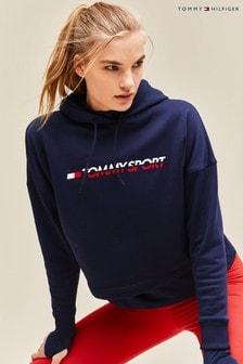 Tommy Sport Cropped Fleece Logo Hoody
