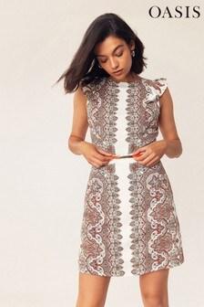 Oasis Natural Paisley Viscose Shift Dress