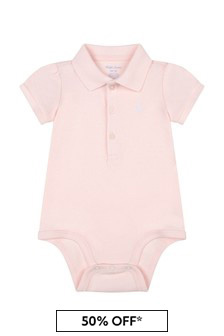 Ralph Lauren Kids Baby Girls Pink Cotton Bodysuit