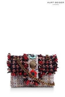 Kurt Geiger London Red Tweed Mini Kensington X Fabric Bag