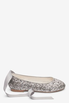 Glitter Tie Ballet Shoes (Older)