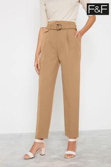 F&F Camel Self Belt High Waist Tapered Trousers
