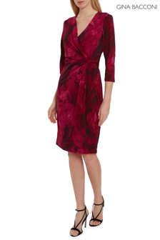 Gina Bacconi Pink Lainey Floral Wrap Dress