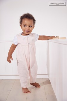 The White Company Pink Embroidered Crinkle Cotton Romper And Top Set