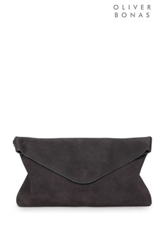 Oliver Bonas Grey Suede Envelope Clutch Bag