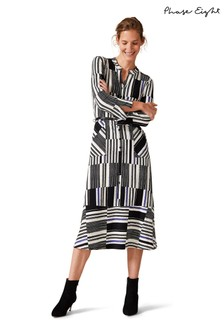 Phase Eight White Opal Stripe Shirt Dress