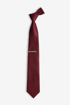 Geometric Tie With Tie Clip