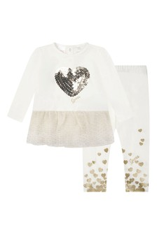 Baby Girls White/Gold Cotton Leggings Two Pack