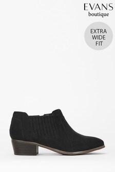 Evans Extra Wide Fit Black Elastic Side Detail Boots