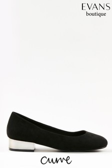 Evans Curve Black Metal Heel Square Toe Shoes