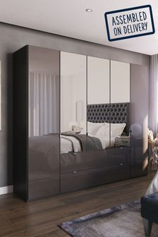 Monroe Five Door Combination Wardrobe With Mirror