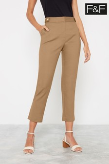 F&F Camel Cotton Viscose Trousers