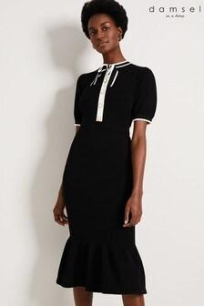 Damsel In A Dress Black Jakarta Bow Knitted Dress