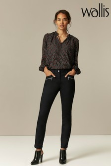 Wallis Petite Black Tinseltown Fly Front Jeans