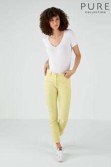 Pure Collection Yellow Duchy Cropped Jeans