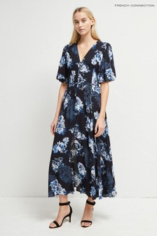 French Connection Blue Caterina Crepe Button Down Dress