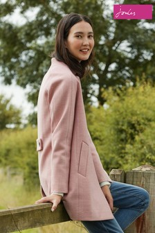 Joules Pink Addington Herringbone Coat