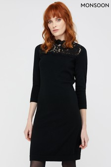 Monsoon Black Lacey Recycled Polyester Dress