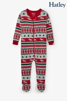 Hatley Red Winter Fairisle Pattern Organic Cotton Footed Coverall Pyjamas