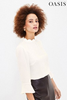 Oasis White Scallop Flute Sleeve Top