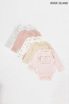 River Island Pink Light Girls 5 Pack Basic Babygrow