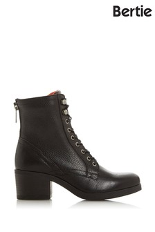Bertie Painter Black Leather Grained Lace-Up Boots